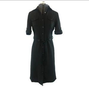 Tahari ASL Black and White Pin Striped Shirt Dress